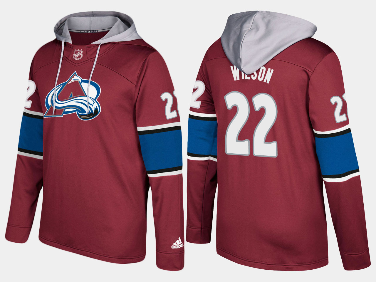 Men NHL Colorado avalanche 22 colin wilson burgundy hoodie
