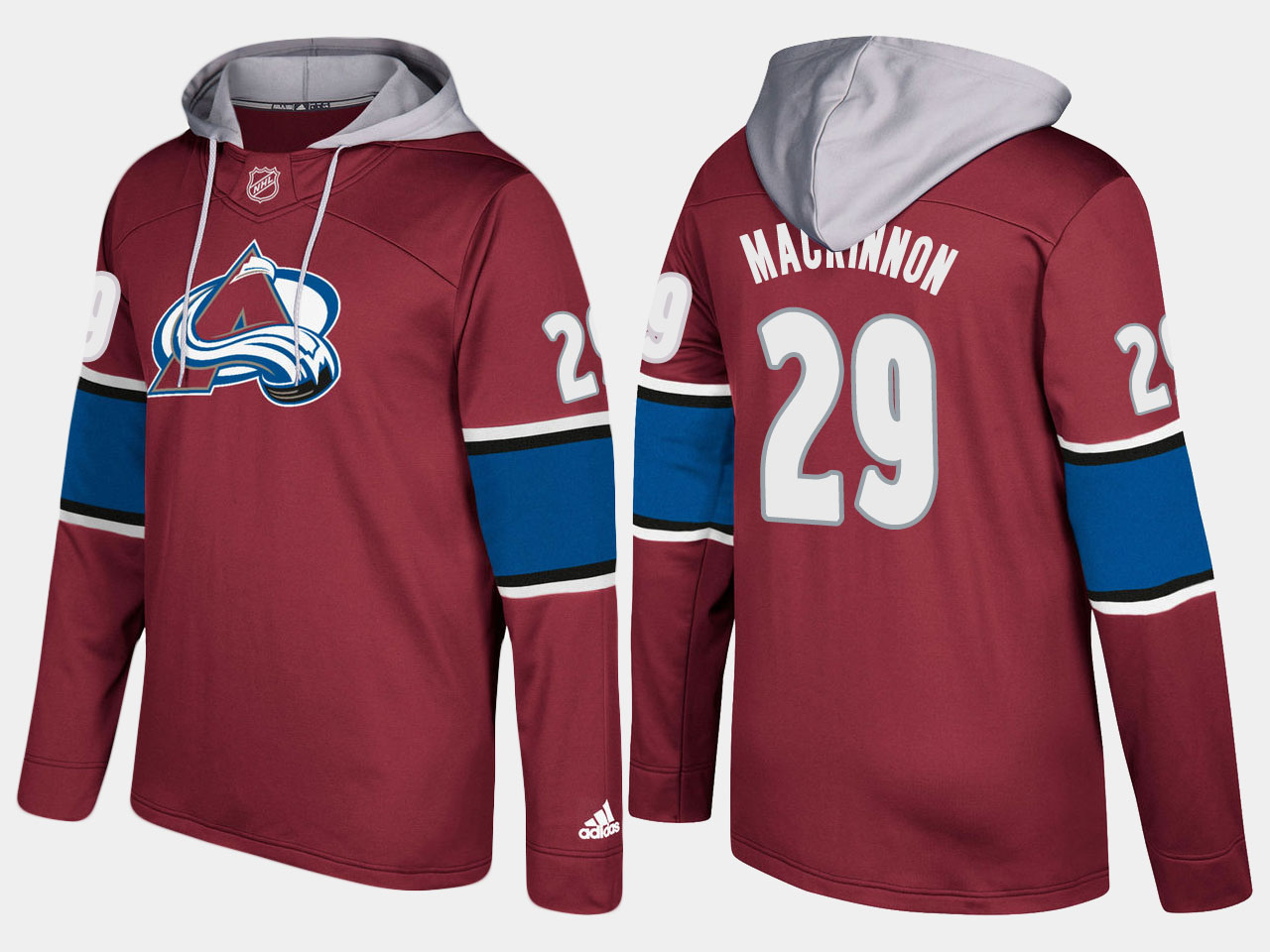 Men NHL Colorado avalanche 29 nathan mackinnon burgundy hoodie