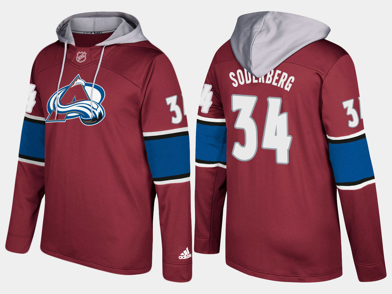 Men NHL Colorado avalanche 34 carl soderberg burgundy hoodie