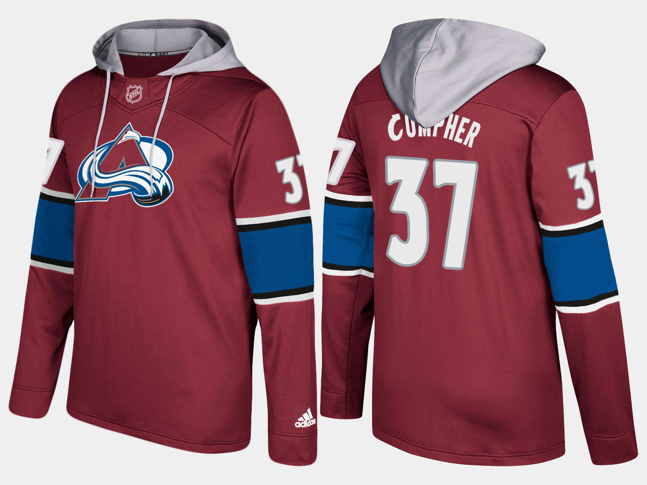 Men NHL Colorado avalanche 37 j.t. compher burgundy hoodie