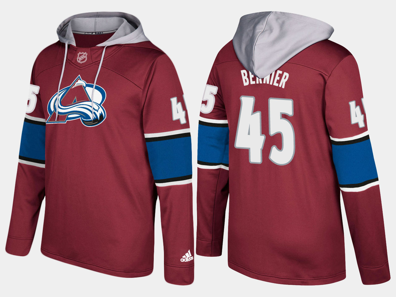 Men NHL Colorado avalanche 45 jonathan bernier burgundy hoodie