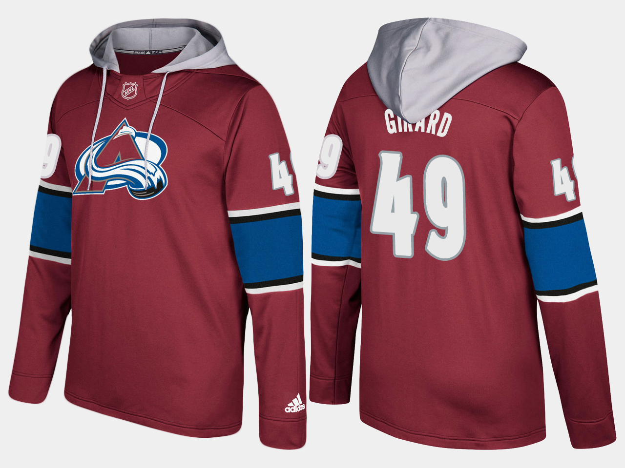 Men NHL Colorado avalanche 49 samuel girard burgundy hoodie
