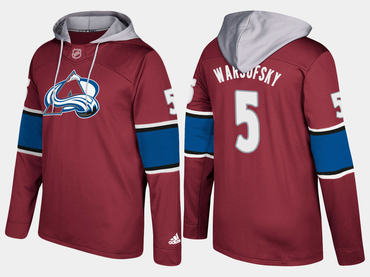 Men NHL Colorado avalanche 5 david warsofsky burgundy hoodie