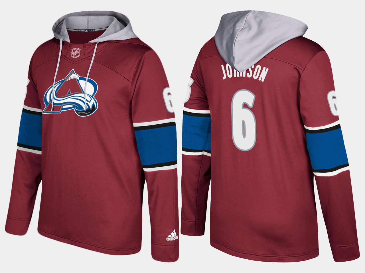 Men NHL Colorado avalanche 6 erik johnson burgundy hoodie