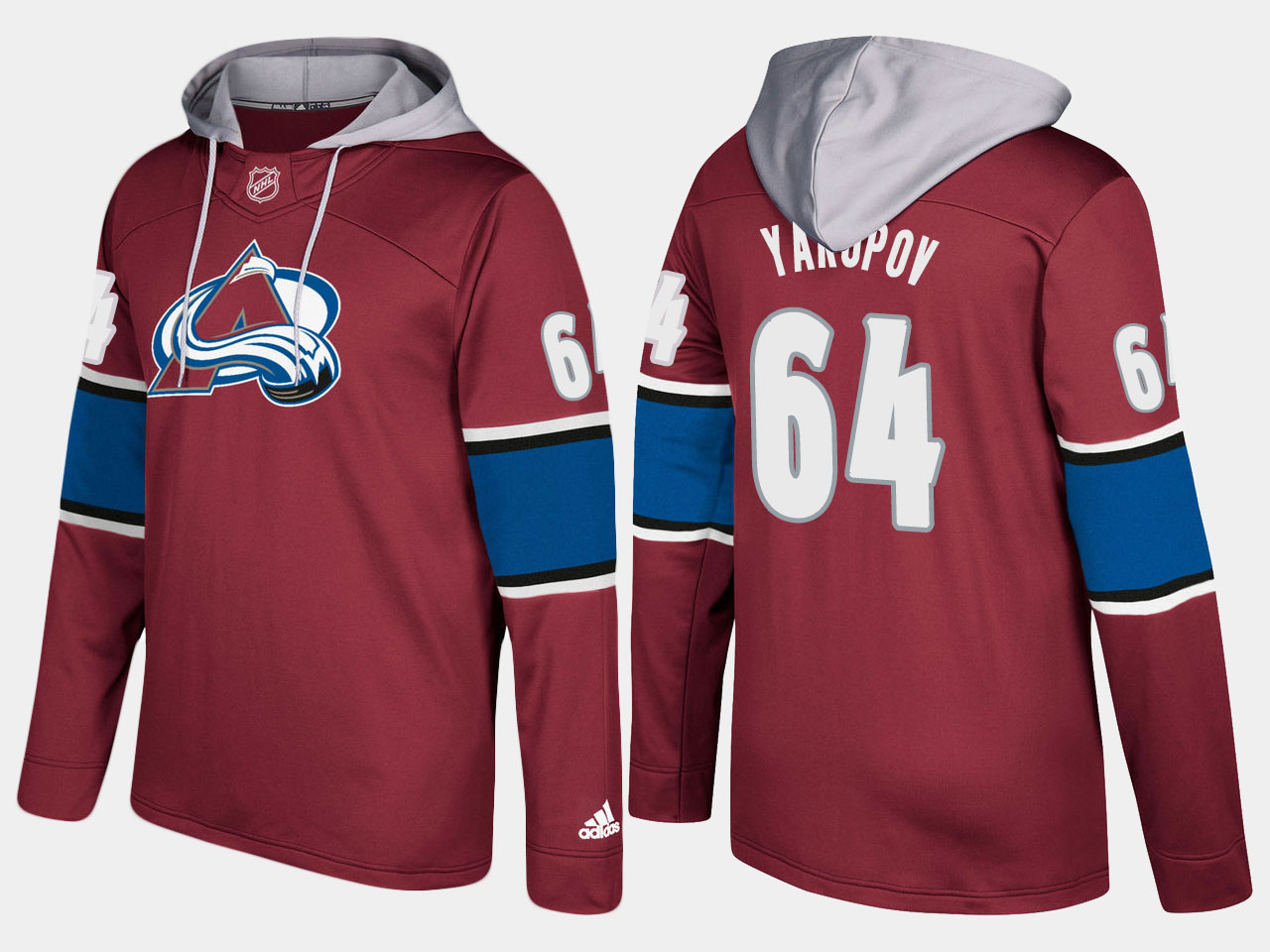 Men NHL Colorado avalanche 64 nail yakupov burgundy hoodie