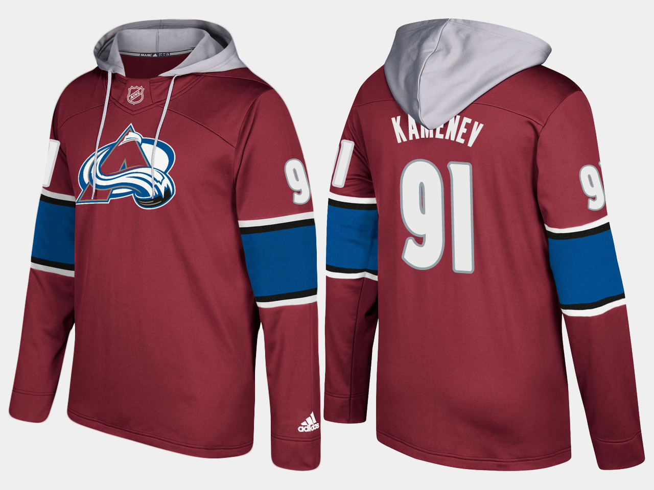 Men NHL Colorado avalanche 91 vladislav kamenev burgundy hoodie