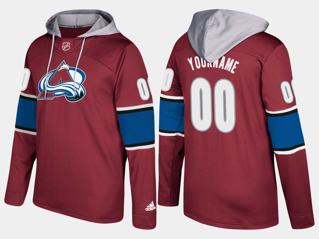 Men NHL Colorado avalanche customized burgundy hoodie