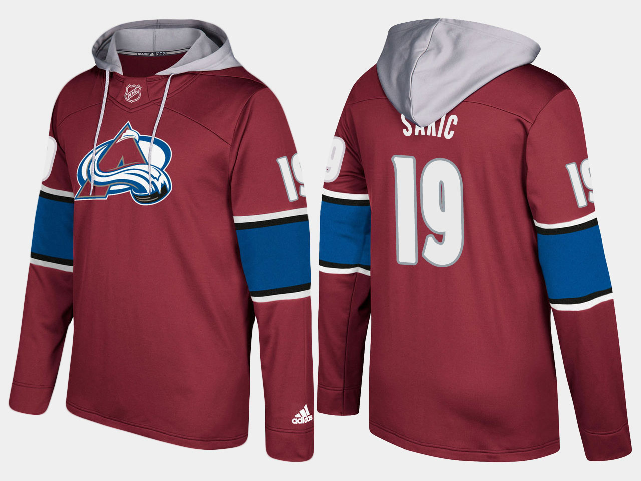 Men NHL Colorado avalanche retired 19 joe sakic burgundy hoodie