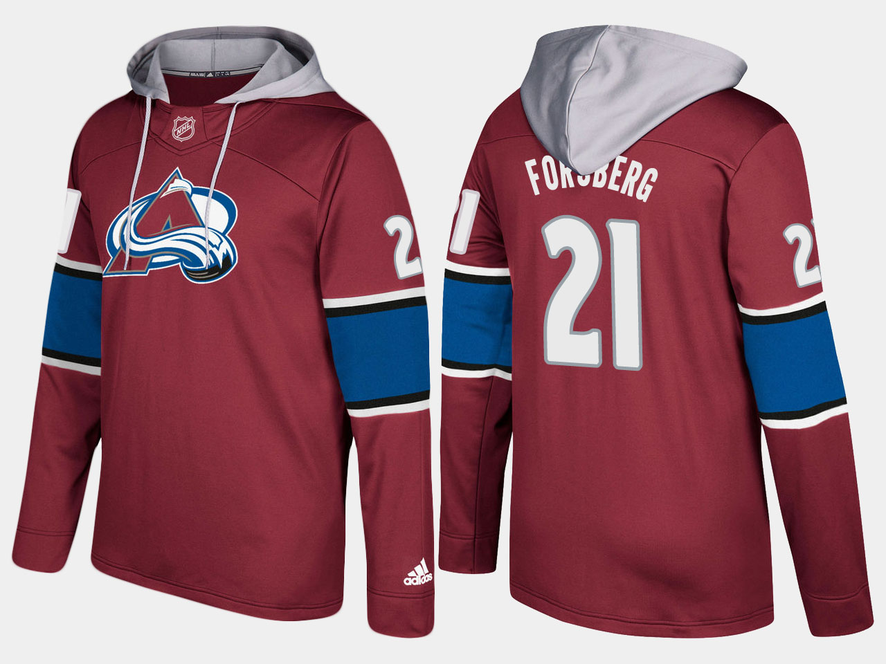 Men NHL Colorado avalanche retired 21 peter forsberg burgundy hoodie