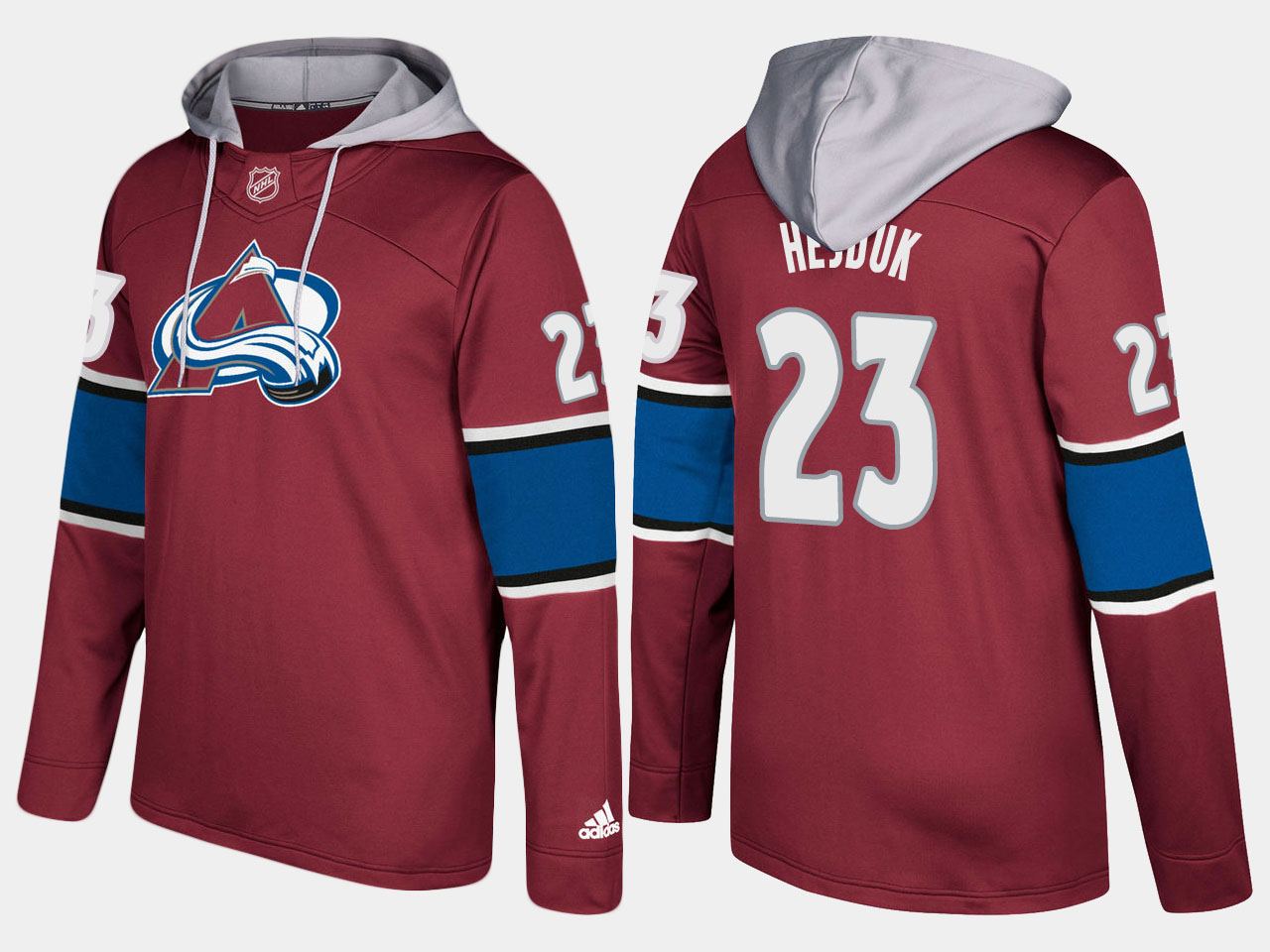 Men NHL Colorado avalanche retired 23 milan hejduk burgundy hoodie