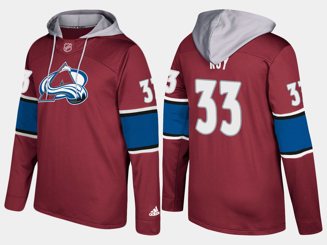 Men NHL Colorado avalanche retired 33 patrick roy burgundy hoodie