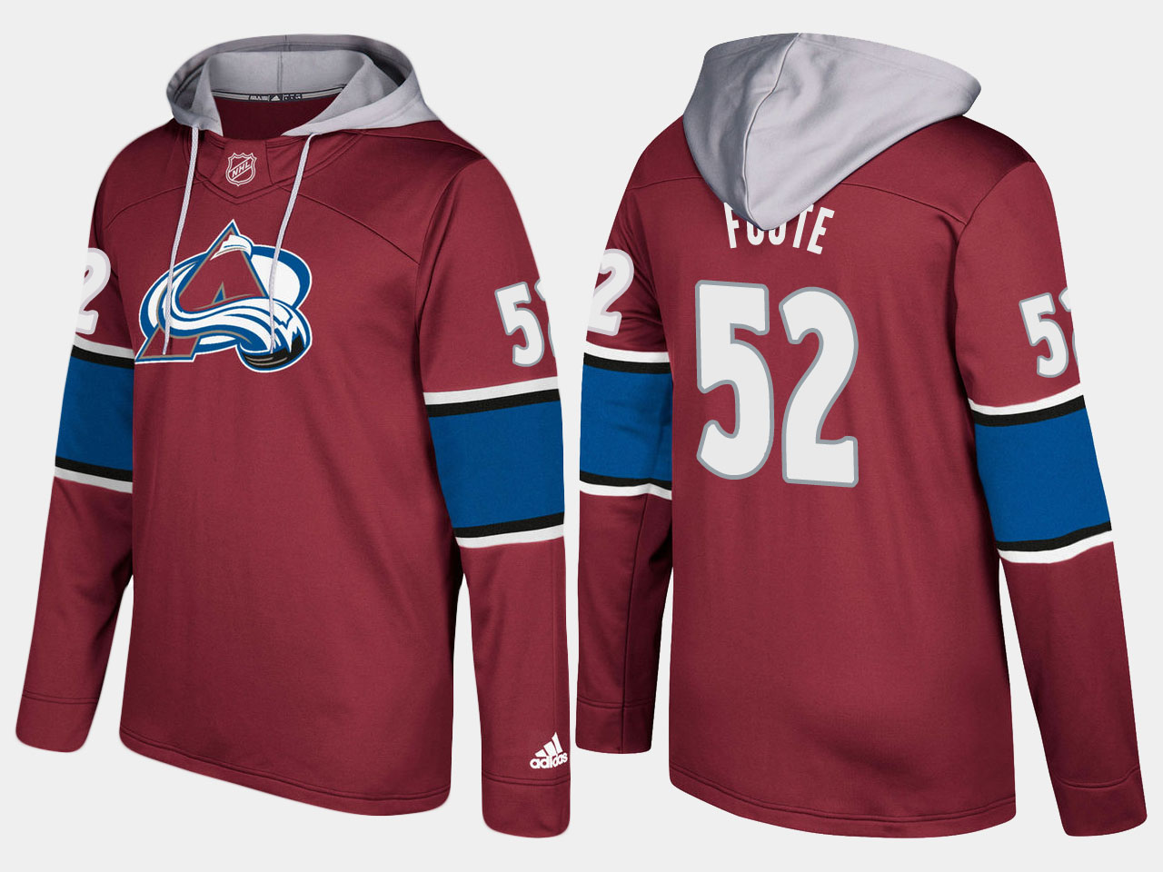 Men NHL Colorado avalanche retired 52 adam foote burgundy hoodie
