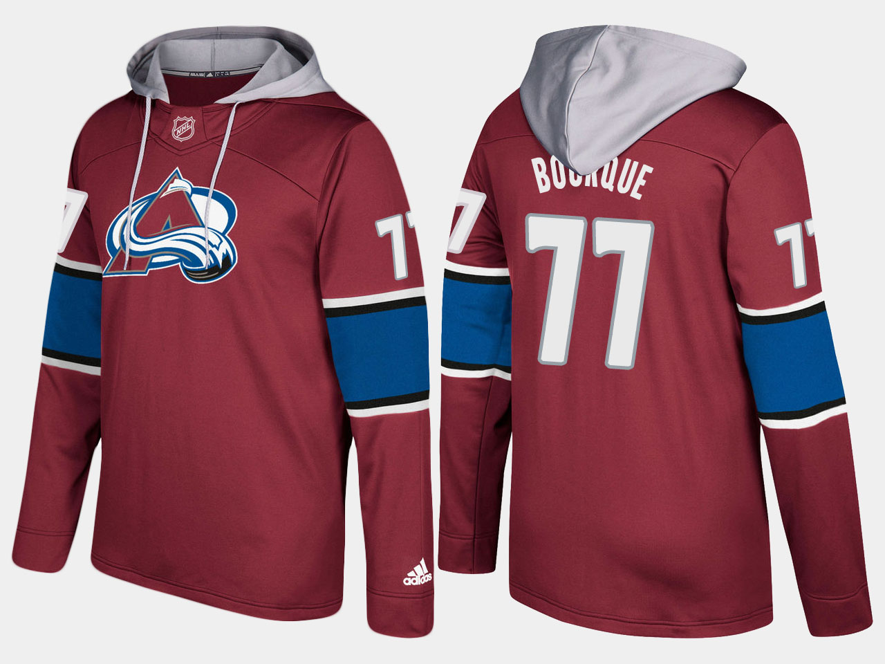 Men NHL Colorado avalanche retired 77 ray bourque burgundy hoodie