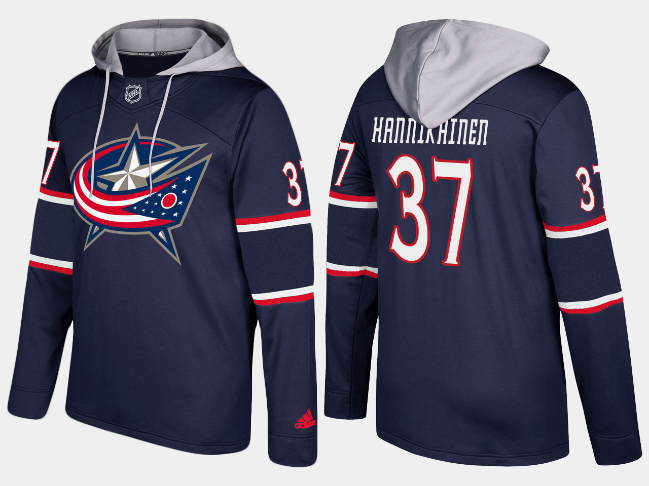 Men NHL Columbus blue jackets 37 markus hannikainen navy blue hoodie