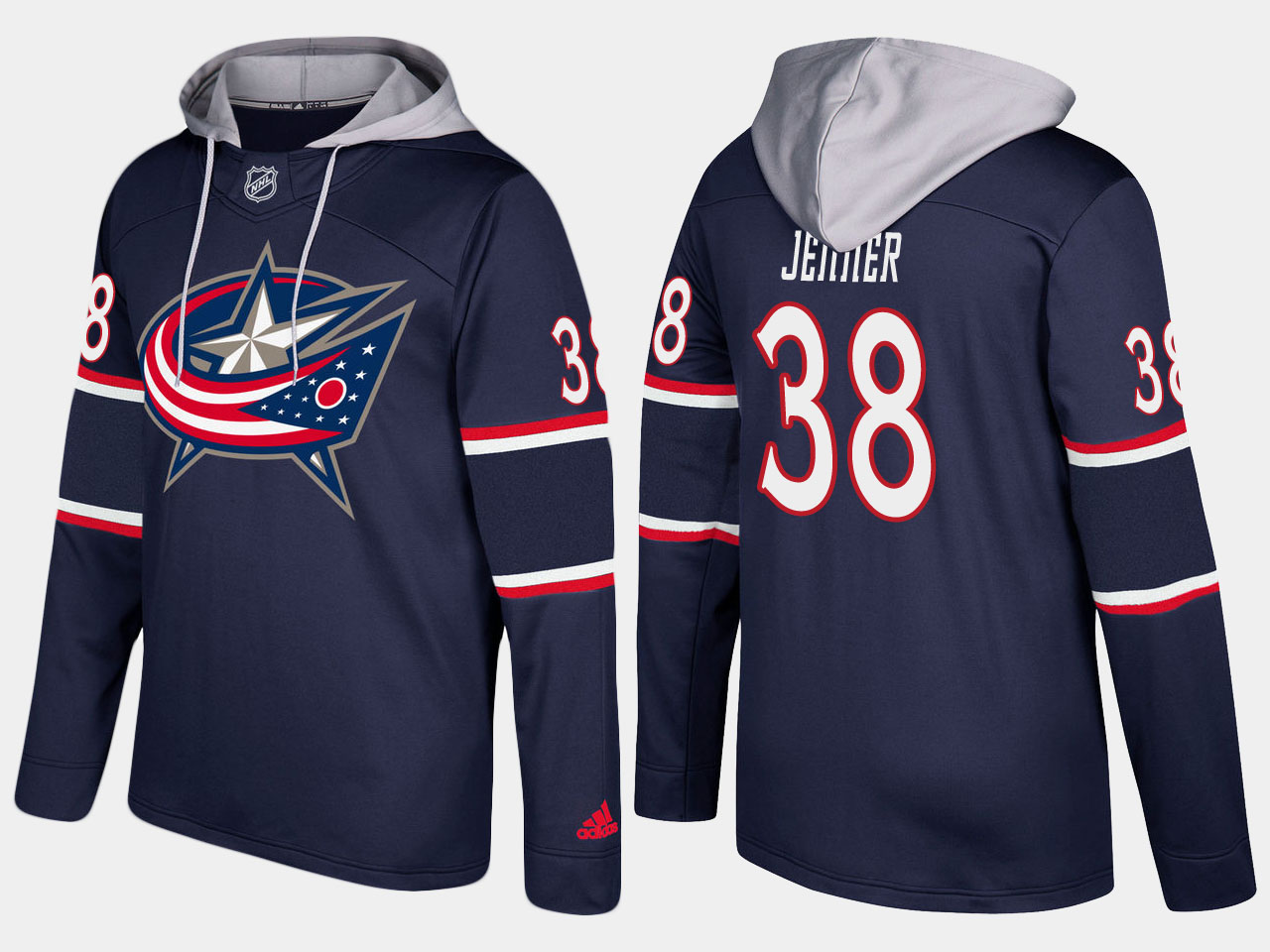 Men NHL Columbus blue jackets 38 boone jenner navy blue hoodie