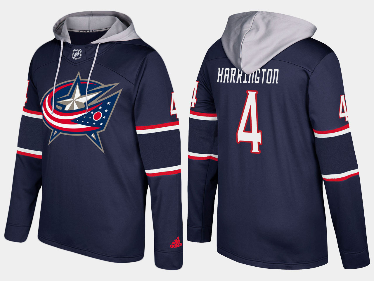 Men NHL Columbus blue jackets 4 scott harrington navy blue hoodie