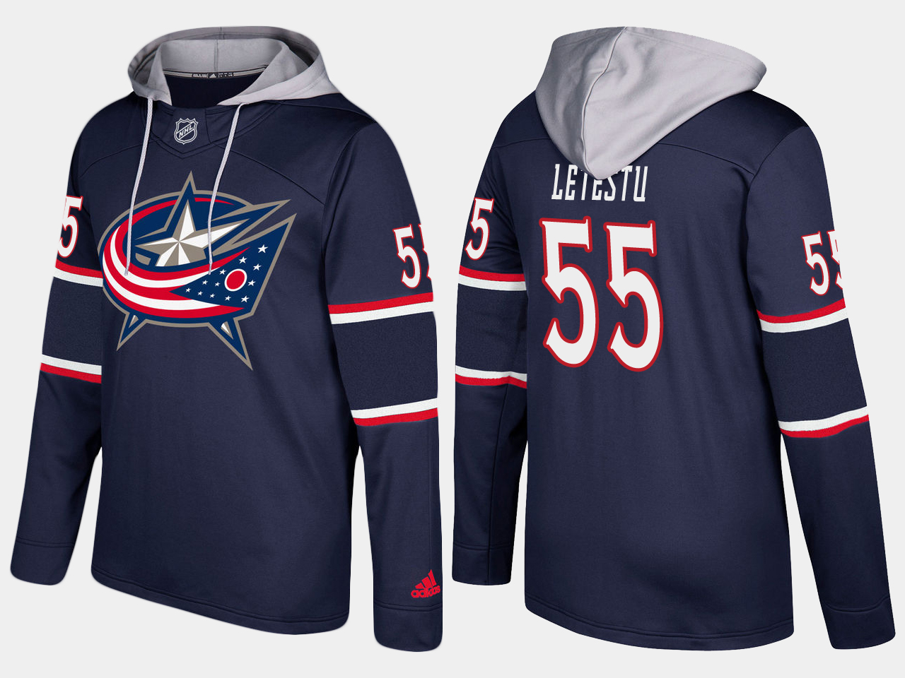 Men NHL Columbus blue jackets 55 mark letestu navy blue hoodie