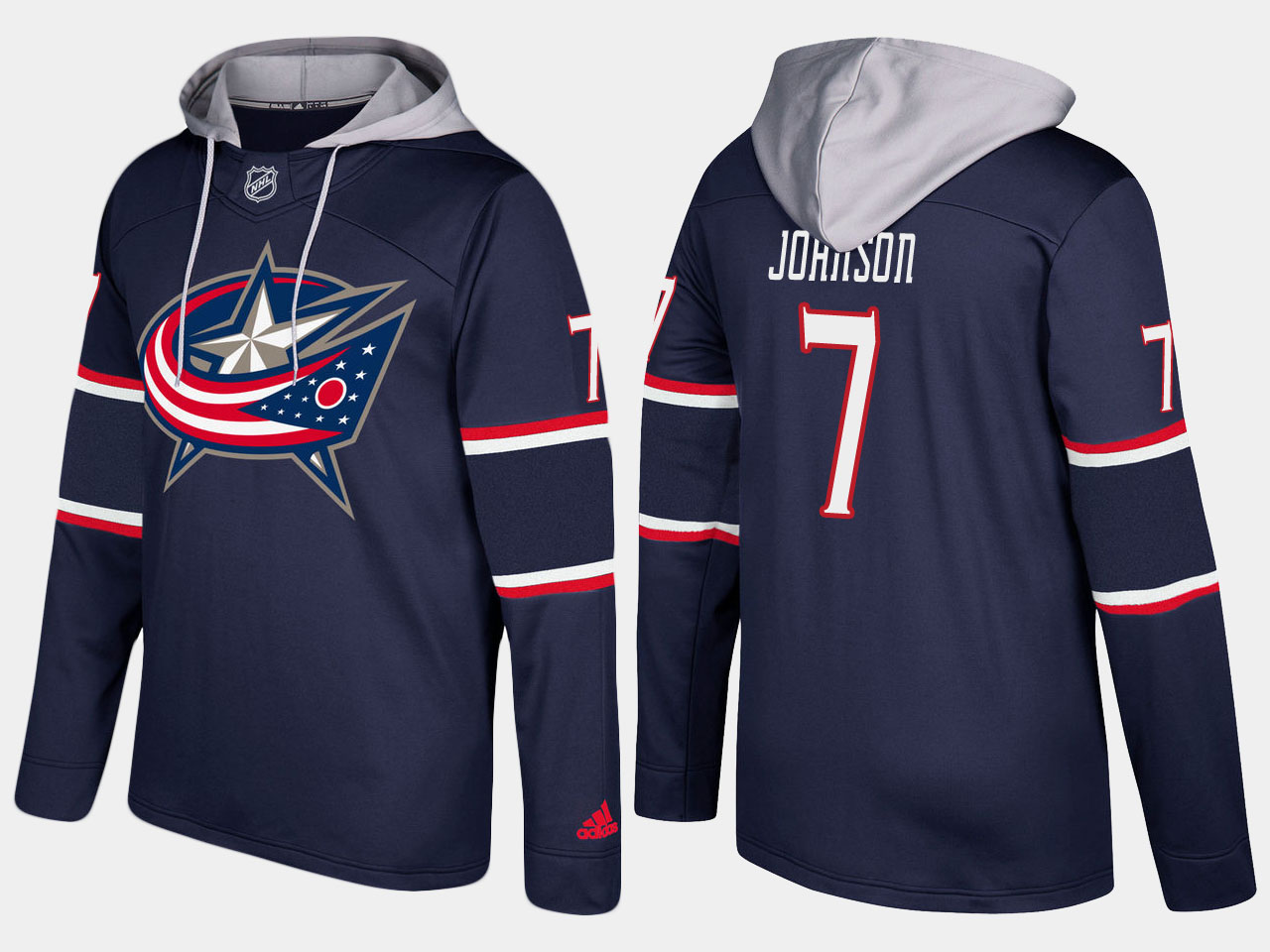 Men NHL Columbus blue jackets 7 jack johnson navy blue hoodie