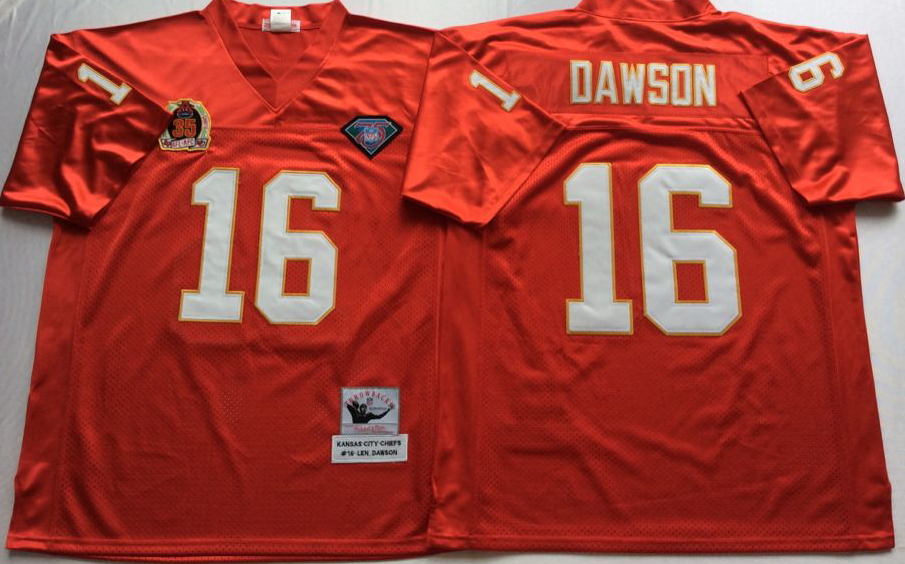 Men NHL Kansas City Chiefs 16 Dawson red Mitchell Ness jerseys