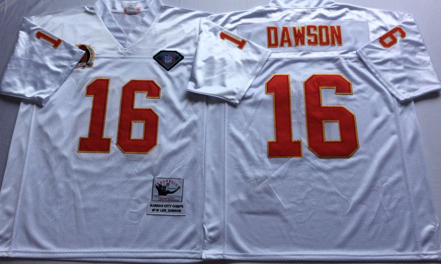 Men NHL Kansas City Chiefs 16 Dawson white Mitchell Ness jerseys