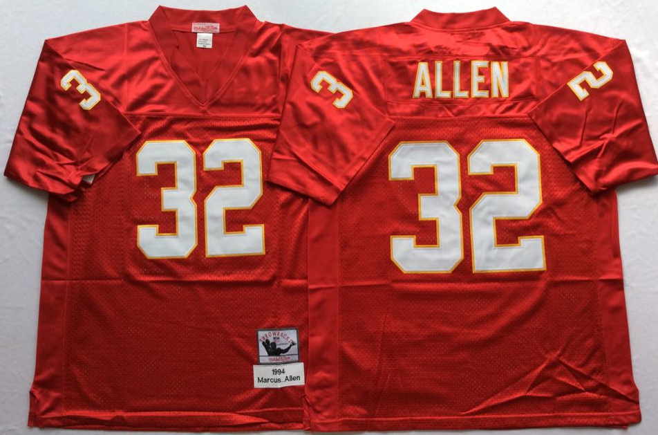 Men NHL Kansas City Chiefs 32 Allen red Mitchell Ness jerseys