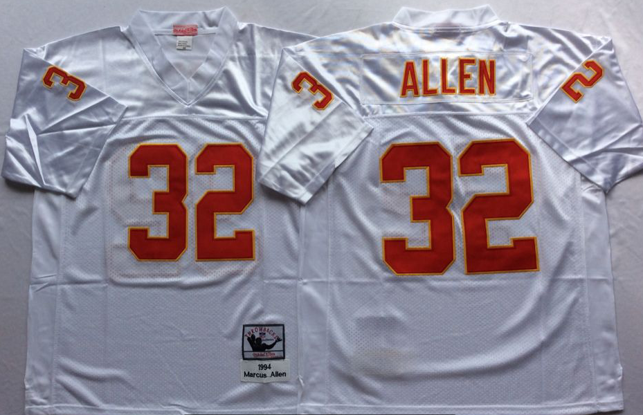 Men NHL Kansas City Chiefs 32 Allen white Mitchell Ness jerseys