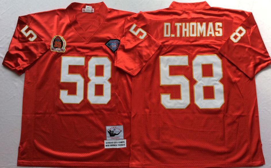 Men NHL Kansas City Chiefs 58 D THOMAS red Mitchell Ness jerseys