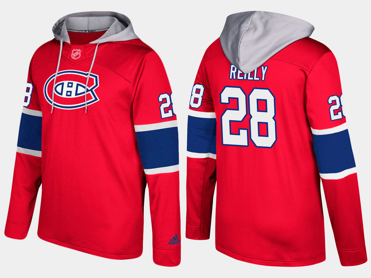 Men NHL Montreal canadiens 28 mike reilly red hoodie