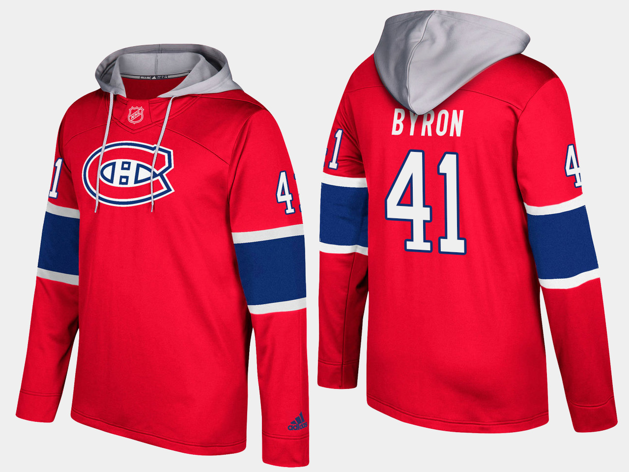 Men NHL Montreal canadiens 41 paul byron red hoodie