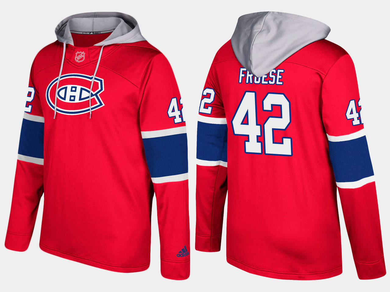 Men NHL Montreal canadiens 42 byron froese red hoodie