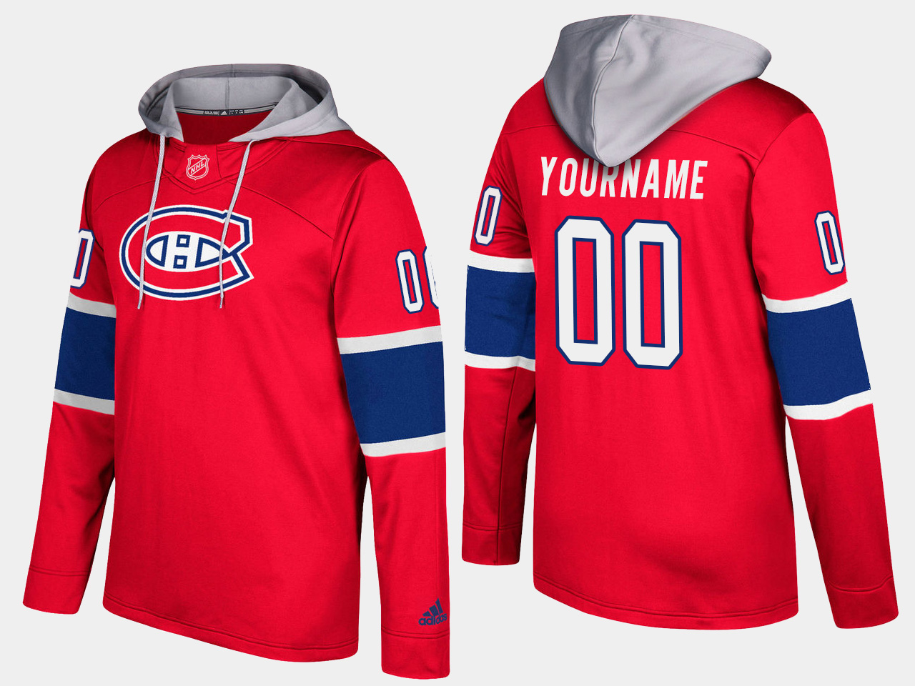 Men NHL Montreal canadiens customized red hoodie