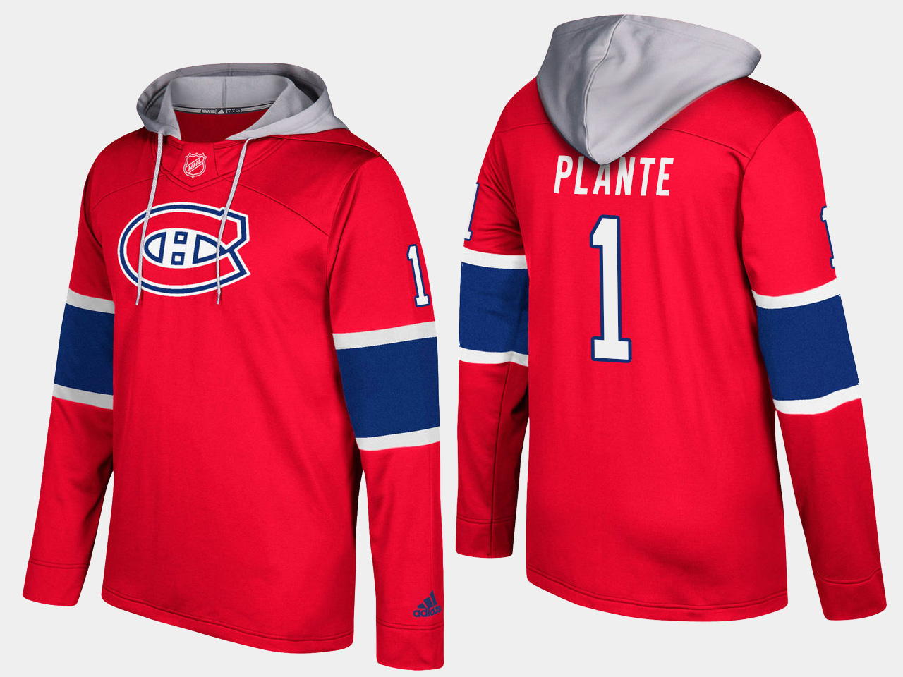 Men NHL Montreal canadiens retired 1 jacques plante red hoodie