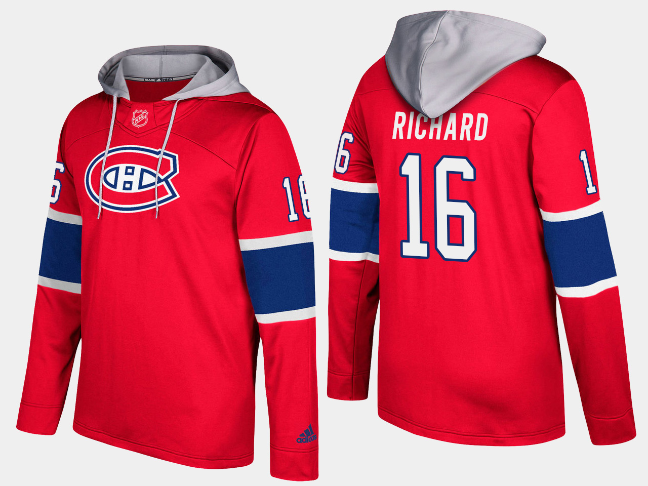 Men NHL Montreal canadiens retired 16 henri richard red hoodie