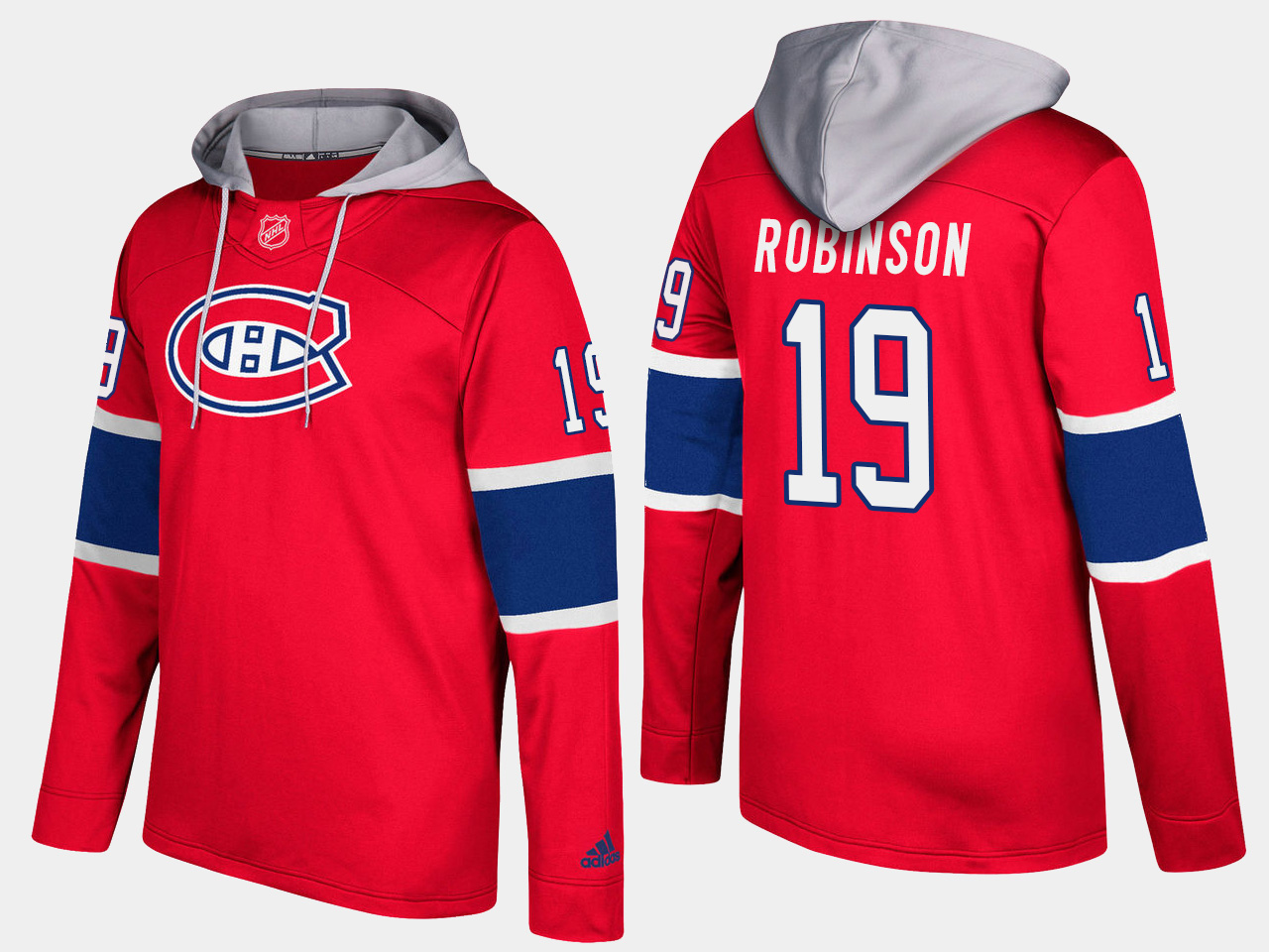Men NHL Montreal canadiens retired 19 larry robinson red hoodie