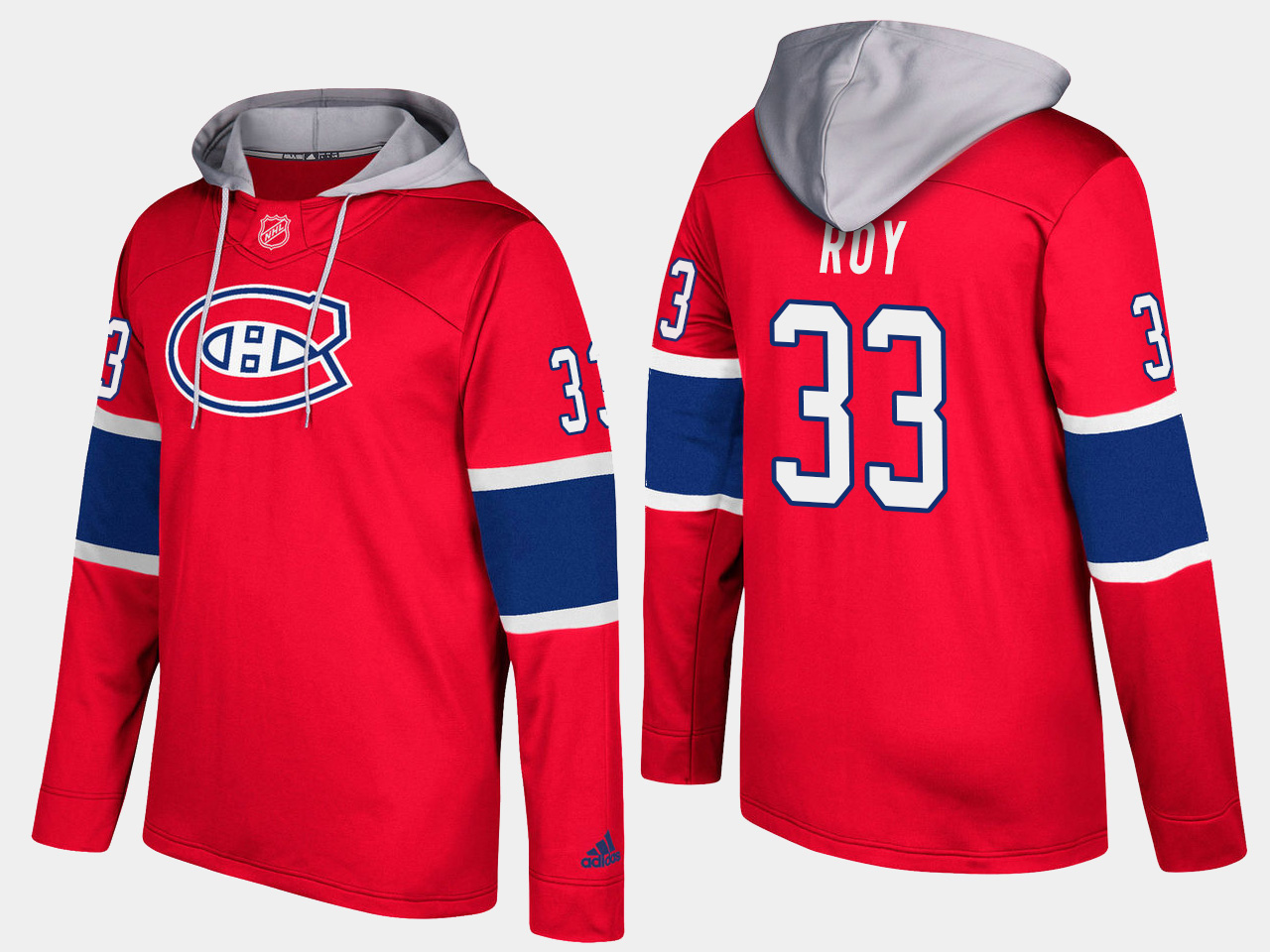 Men NHL Montreal canadiens retired 33 patrick roy red hoodie