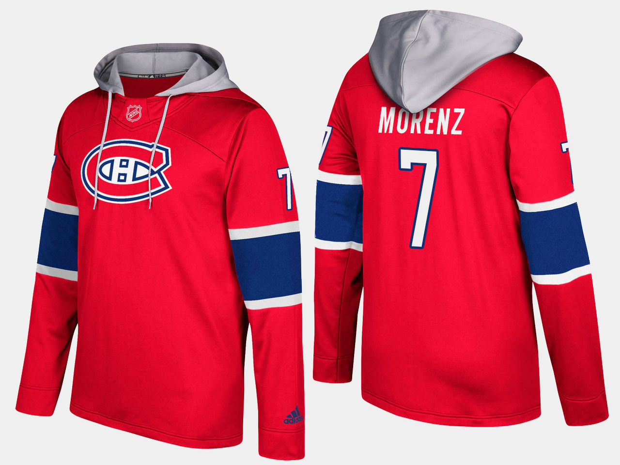 Men NHL Montreal canadiens retired 7 howie morenz red hoodie