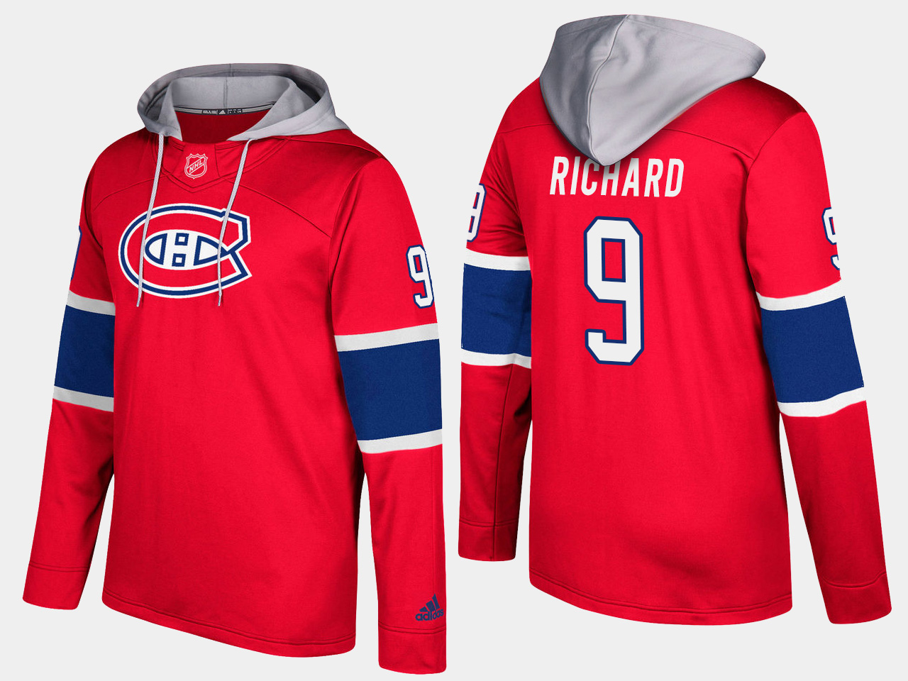 Men NHL Montreal canadiens retired 9 maurice richard red hoodie
