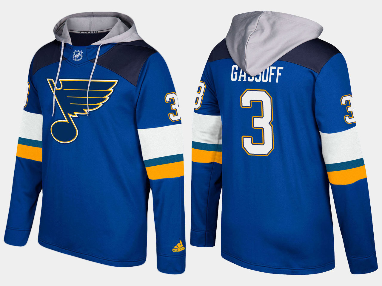 Men NHL St.Louis blues retired 3 bob gassoff blue hoodie