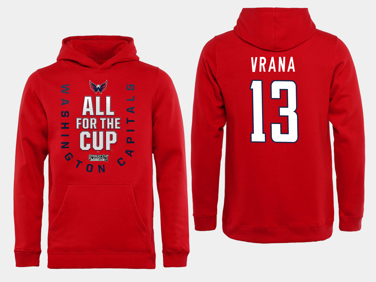 Men NHL Washington Capitals 13 Vrana Red All for the Cup Hoodie