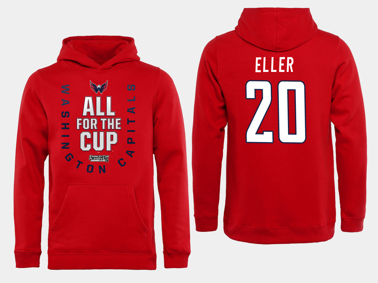 Men NHL Washington Capitals 20 Eller Red All for the Cup Hoodie