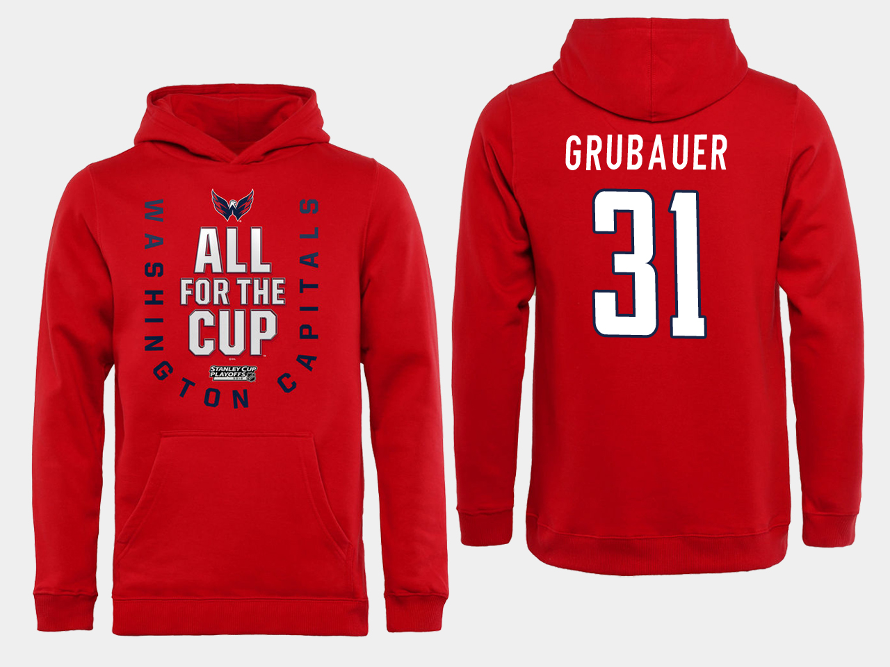 Men NHL Washington Capitals 31 grubauer Red All for the Cup Hoodie