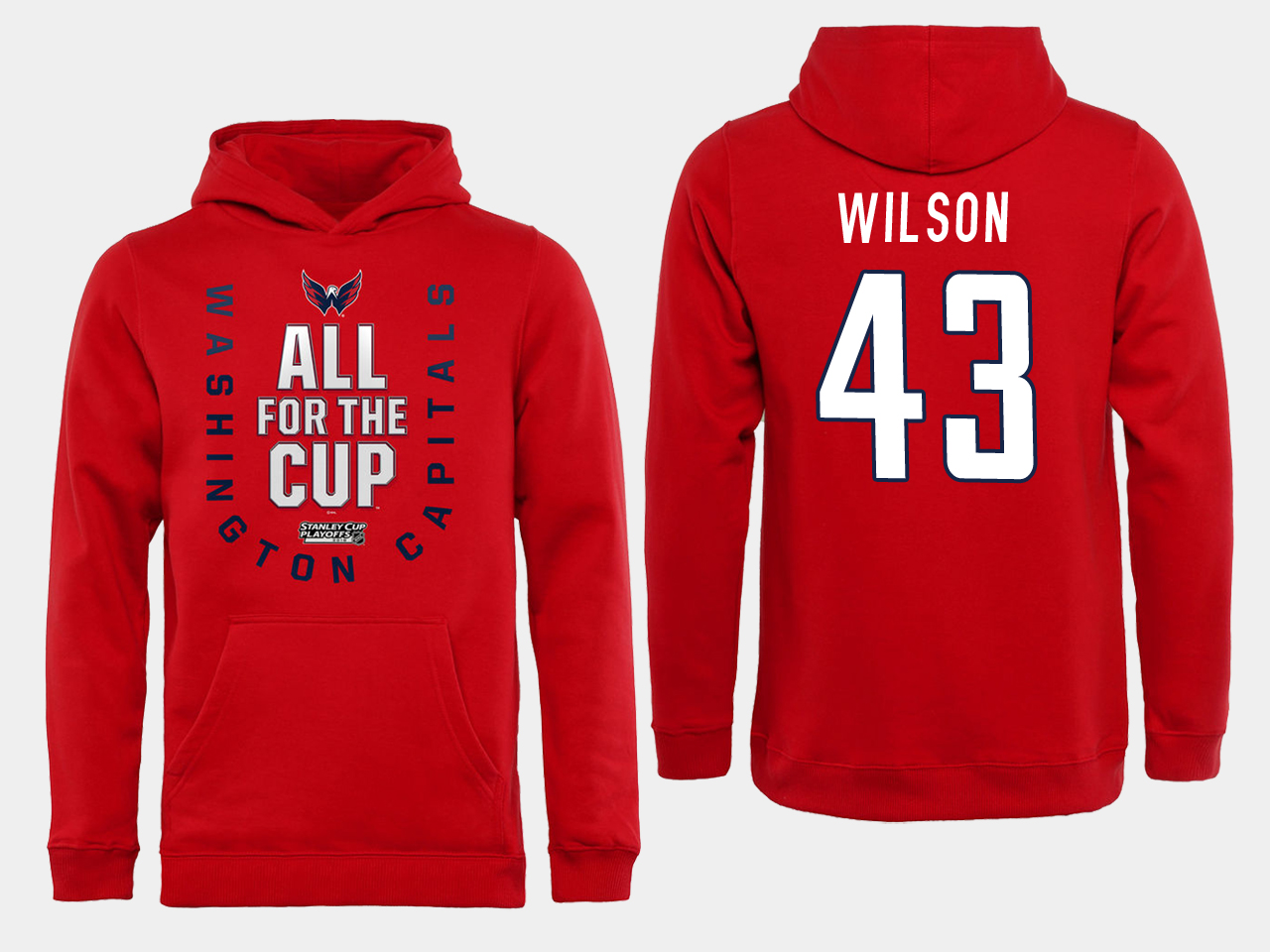 Men NHL Washington Capitals 43 Wilson Red All for the Cup Hoodie