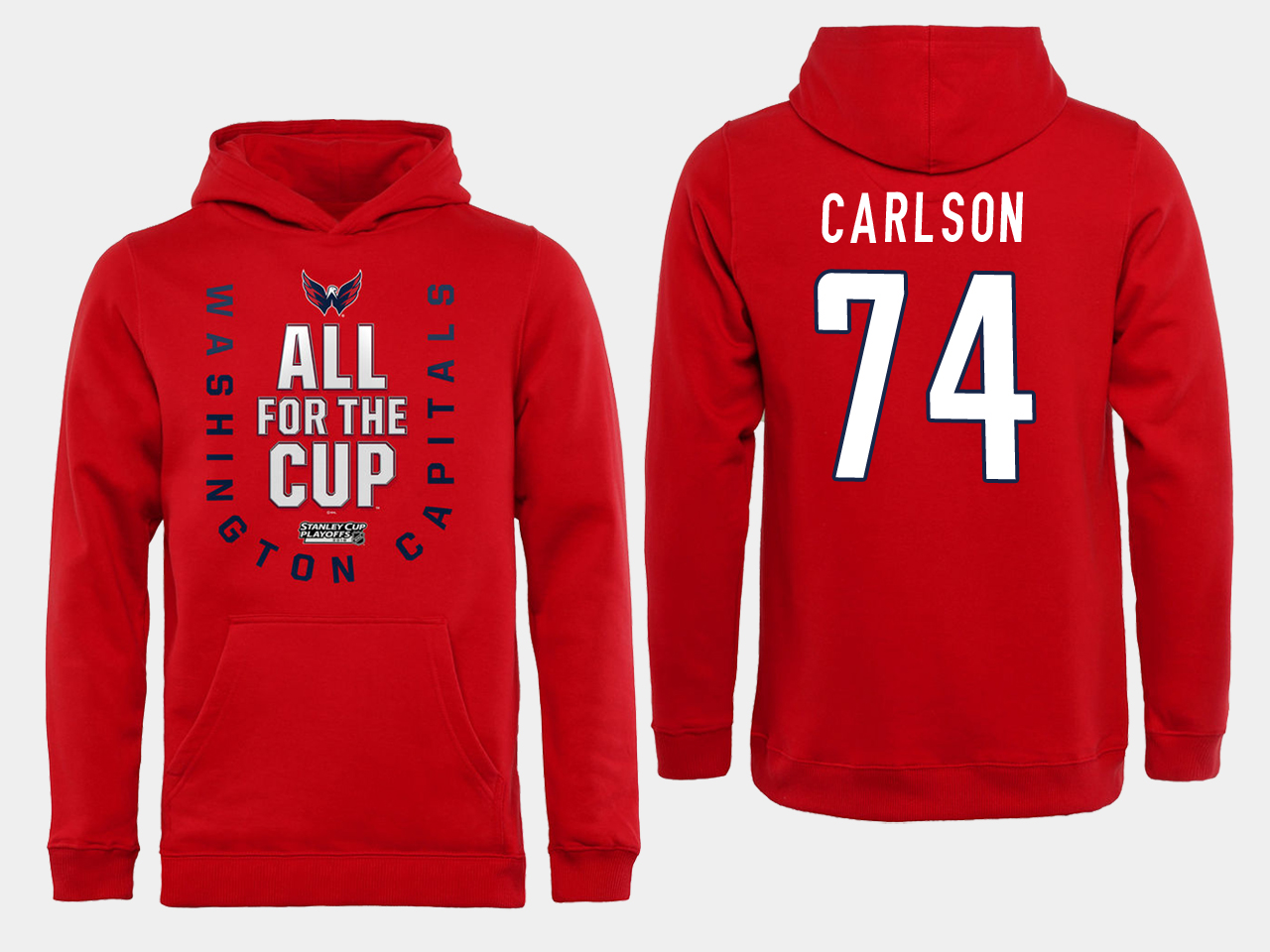 Men NHL Washington Capitals 74 Carlson Red All for the Cup Hoodie