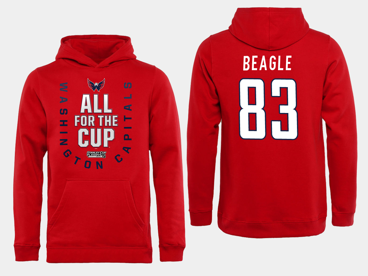 Men NHL Washington Capitals 83 Beagle Red All for the Cup Hoodie