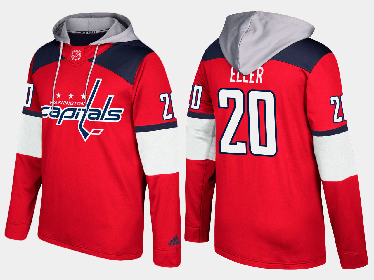 Men NHL Washington capitals 20 lars eller red hoodie