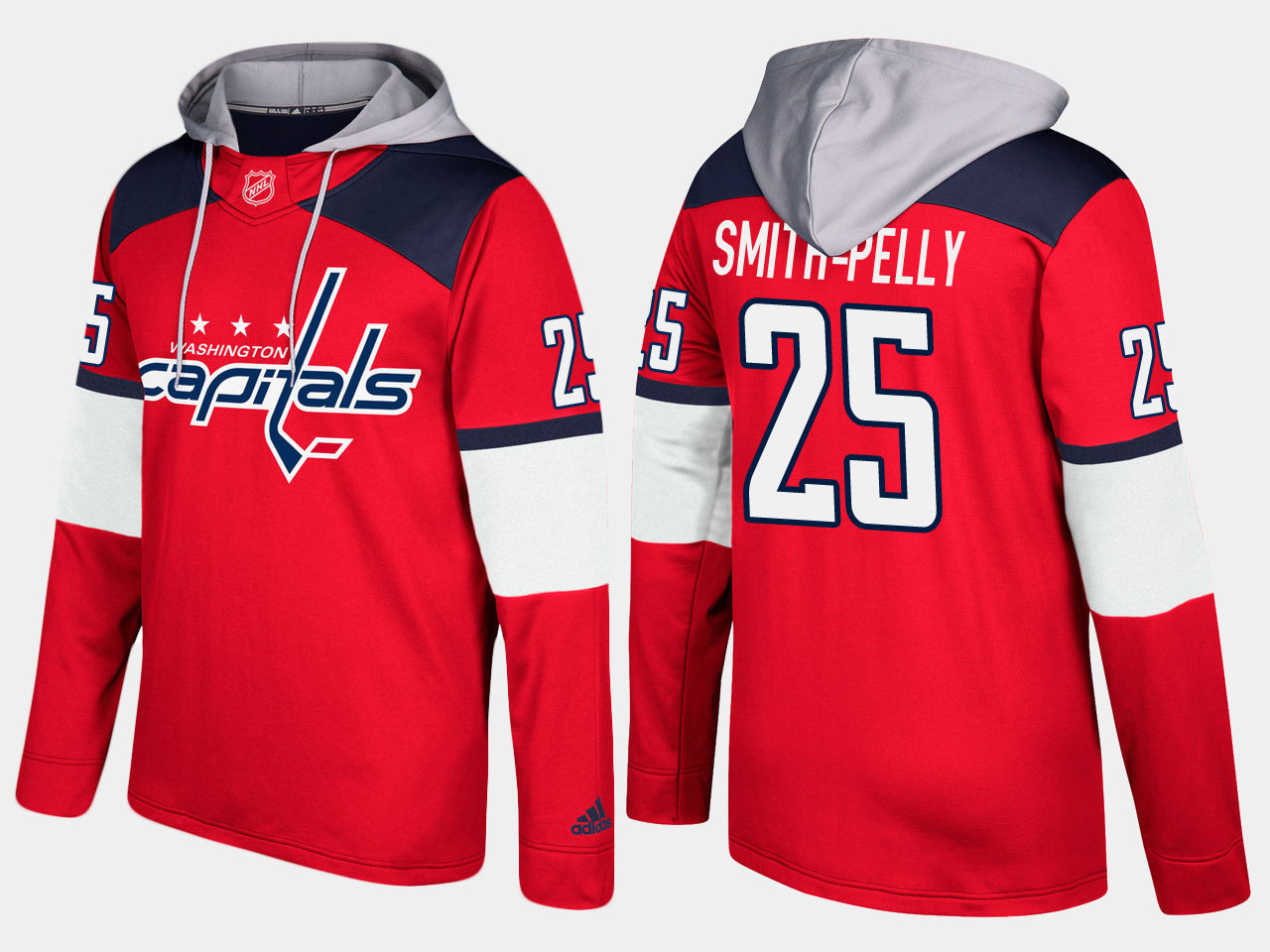 Men NHL Washington capitals 25 devante smith pelly red hoodie