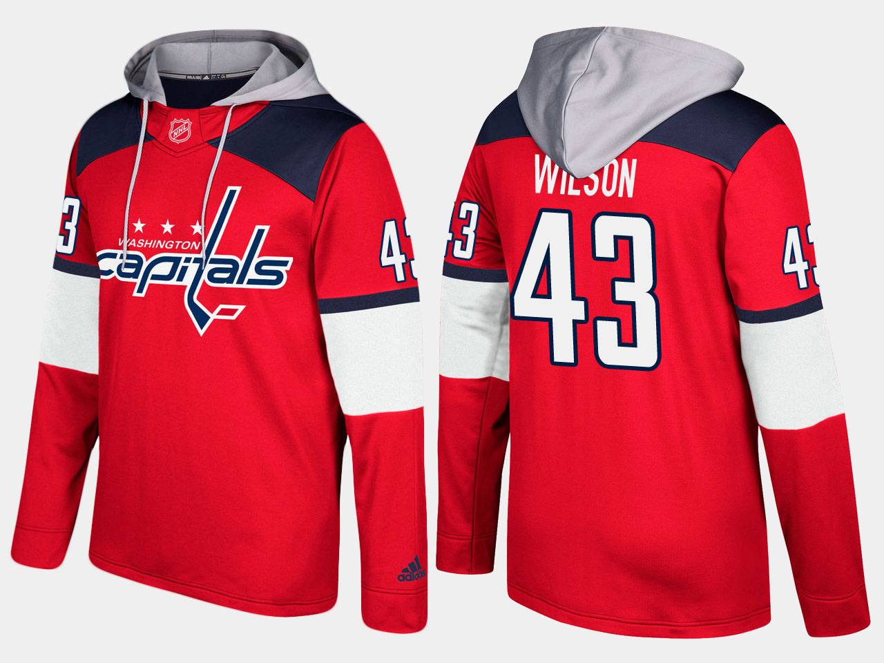 Men NHL Washington capitals 43 tom wilson red hoodie