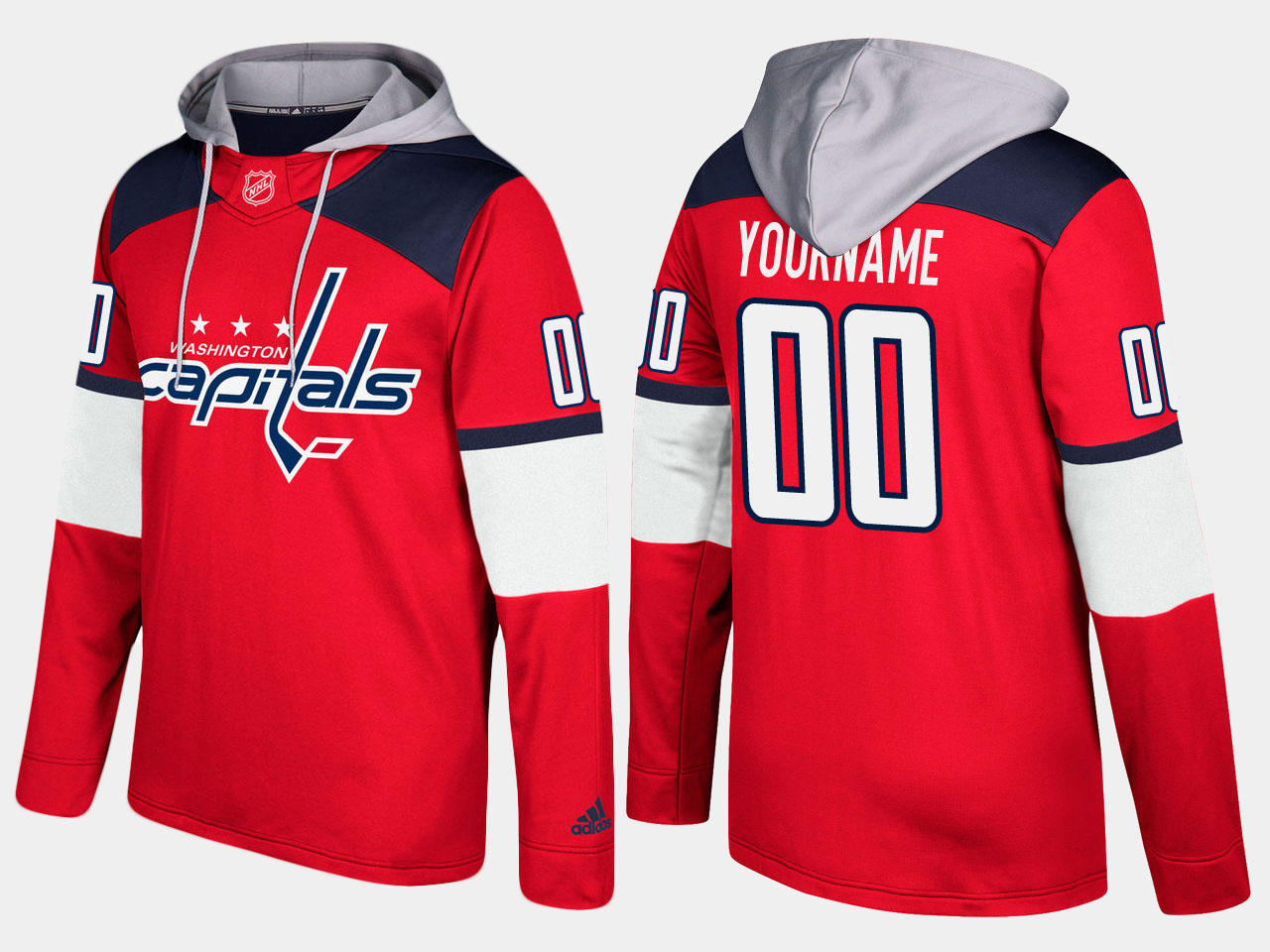 Men NHL Washington capitals customized red hoodie