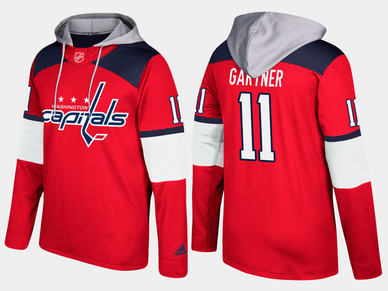 Men NHL Washington capitals retired 11 mike gartner red hoodie