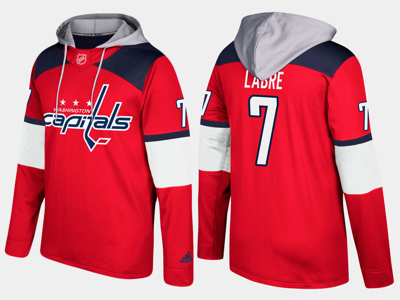 Men NHL Washington capitals retired 7 yvon labre red hoodie